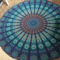 Indiaas Mandala Handgemaakt Kleed Rond- Benares